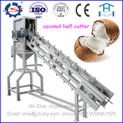 Automatic coconut half cutter and juice collection machine
