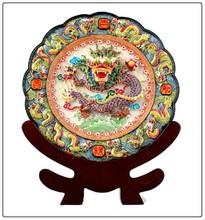 Cream color resin 9 dragon statue dish decoration