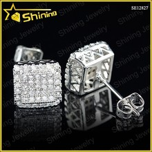 Guangzhou Shining Jewelry factory direct sell lot copper earrings clear cubic zirconia iced out hip hop jewelry