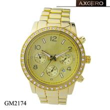 Perfect quartz japan movement crystal man gold watches