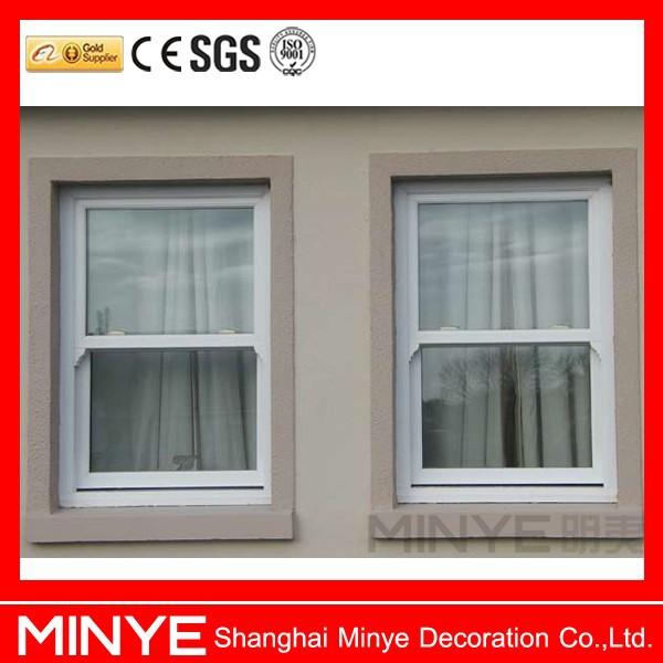 Plastic profile pvc vertical sliding window grill design for Vertical sliding window design