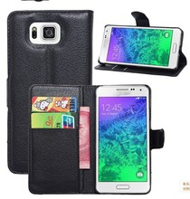 Wallet style leather cellphone case for Samsung Galaxy Alpha G850F with 9 color to choose