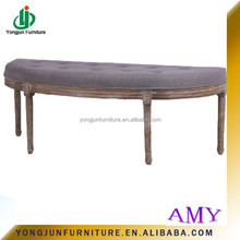 High Quality French antique style Padded Linen Buttoned Wooden Shoe Bench,wooden ottoman bench,fabric shoe bench