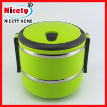 Colored two layers stainless steel keep food warm lunch box / tin food box