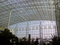 Light weight Indoor green show room steel space frame roof systems building