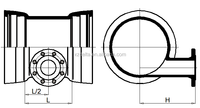 Double socket level invert tee with flanged branch