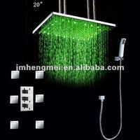 led shower set 20 inches hydro power led shower set with 2 inches body jets led shower set