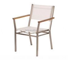 Pearl outdoor furniture mesh fabric seat and back aluminum chair with teak armrest
