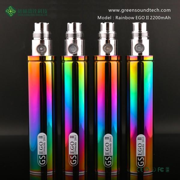 2015 Greensound VAPE PEN Rainbow Stainless Steel eGo II battery rainbow ego 1300mah battery