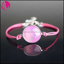 New Magnetic Leather Rope Rhodium Plated Alloy Wrapped Natural Round Pink Moss Agate Bracelets Stone