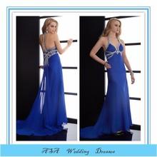 Sexy Halter top Royal blue Chiffon Crystals Empire waist long pregnant women prom dresses 2015 (YASA-847)