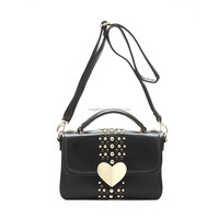 Wholesale Fashion Style Designer PU Leather Women Messenger Bag With Rivets and Heart Shape Hasp,Cheap Price with High Quality