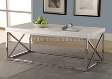 Metal Cocktail Table, Glossy White/Chrome 44 x 26 x 16 inches