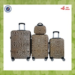ABS material leopard printing spinner wheel carry on style luggage
