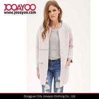 European Stylish Woman Winter Coat Pink collarless Ladies Long Overcoat