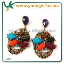 Exquisite Workmanship Rhinestone Earrings, Alloy Resin Earrings