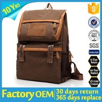 computer canvas bag / PU canvas backpack / Genuine leather canvas backpack