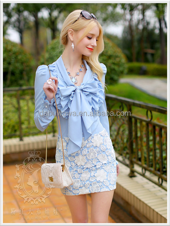Dabuwawa White multi-ruffled design bow-tie long sleeve slim shirt bow collar office girl lady formal blouse hottest