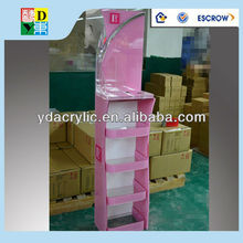 Customized classical design hign quality freestanding cosmetics acrylic display rack,acrylic floor display factory manufacturing