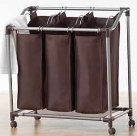 En acier inoxydable linge panier et de tri avec cintre - Panier a linge double compartiment ...