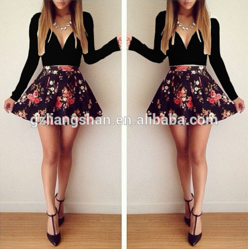 2015 oem novo verão das mulheres sexy floral v pescoço <span class=keywords><strong>festa</strong></span> à noite vestido mini-saia cor preto vestido casual
