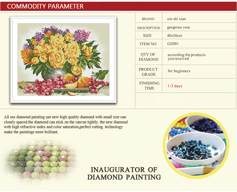 flower picture new hot sale diy crystal diamond mosaic painting GZ060