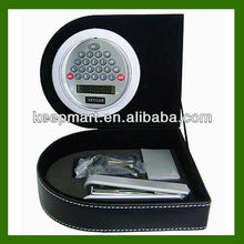 PVC leather stationery sets/Rotating calculator,stapler,staples,clip in one PVC leather box