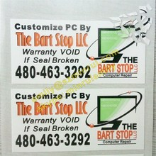 Custom warranty void if seal removed electronics product security label, ultra destructible autocollant for electronics products