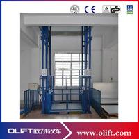 China warehouse guide rail lift/ hydraulic vertical cargo lift