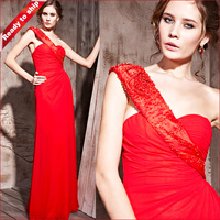 Free Shipping Sheath One-shoulder Floor-length Chiffon Red Wedding Party Dresses