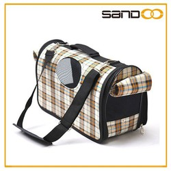 Made in china simple plaid comfort pet shopping bag