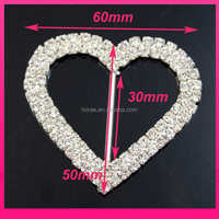6*5cm silver plating heart wedding chair brooch sash rhinestone slide buckle