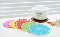 Hot sell Semitransparent Lace Cup Mat Silicone Rubber Coaster for Kids Birthday Party Favors