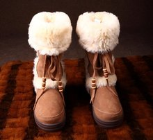 Luxury Design Genuine Leather Shearling Sheepskin Fur Boot