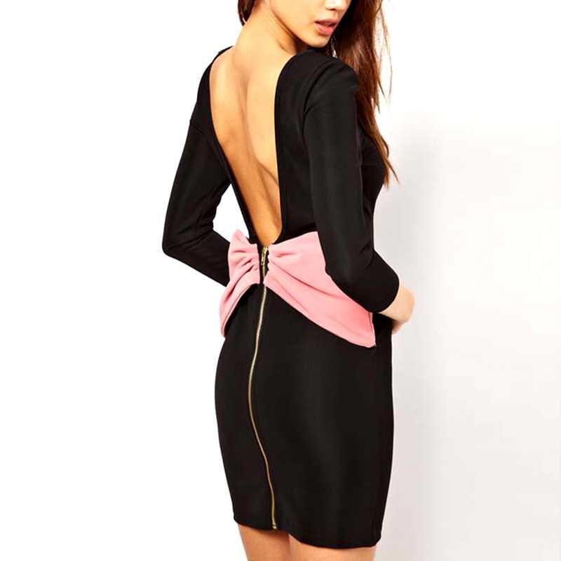Вечерние платья короткие с открытой спиной и одним рукавом