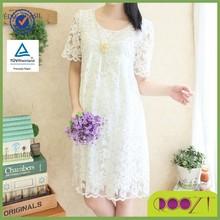 2015 Newest Big size Lace Summer Short sleeve Round Neckline Fashion Maternity Dress