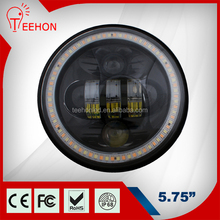 Manufacturer supply black 5.75 inch round led headlight 12v 24v for motorcycle