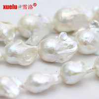 18*25mm white AAAA large baroque nucleated pearls 16-inch strands