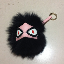 Black color raccoon fur bag bug keychain in 2015 hot fashion
