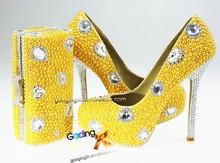 gooding crystal handmade fashion italian yellow crystal diamond bridal wedding jeweled heel shoes newest yellow wedding shoes
