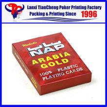 2015 haute qualité Custom doulbe ensembles poker jeu de cartes jeu sieste saoudite or 100% impression de cartes de jeu en plastique