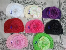 Baby Crochet Kufi hat children hat knitted baby 4 inches gerbera daisy flower baby hair bow clip JPhat152
