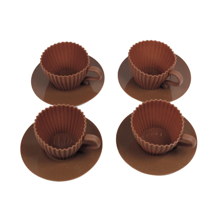 Silicone Tea Cupcakes / 4pcs Silicone Cup mold/ 4pcs silicone cup muffin