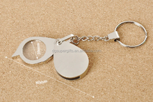 stainless steel magnifying glass key ring with silk printed logo