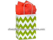 2013 chevron stripe green shopping Customized Promotion shopping paper bag with handle