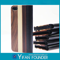 Luxury Wood Leather Case With Wallet Stand For IPhone5 5S