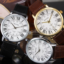 roman style case leather watch for men 3 colors