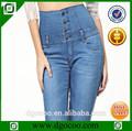 ocoo superior de diseño de moda oem flaco servicio cuatro botones de las mujeres de mezclilla pantalones de cintura alta
