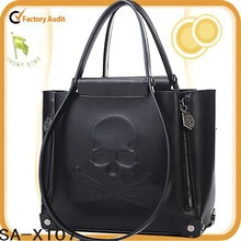 Hot ! 2015 fashion skull black leather women shoulder bag ladies purse