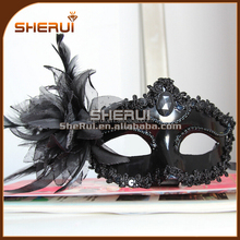 New Arrival Black Feather Masquerade Masks For Halloween,cheap Venetian Mask For Sale From China